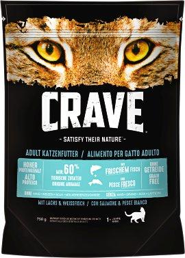 CRAVE Katzenfutter trocken Lachs und Weißfisch 750 g