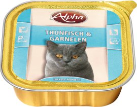 ALPHA Katzennahrung Schale Thunfisch und Garnele 32x100 g