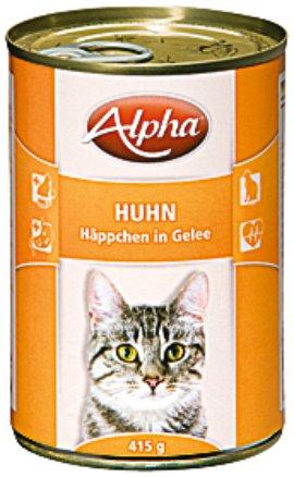 ALPHA Katzennahrung Dose Huhn in Soße 24x415 g