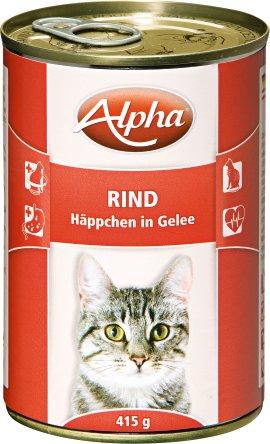 ALPHA Katzennahrung Dose Rind in Soße 24x415 g