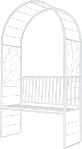 Rosenbogen mit Bank weiß