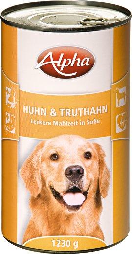 ALPHA Hundenahrung Huhn und Truthahn 12x1.230 g