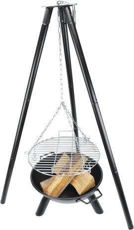 BBQ-Set mit Feuerschale, Grillrost und Kochkessel