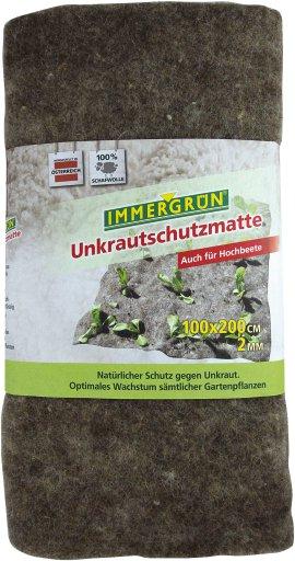 IMMERGRÜN Unkrautschutzmatte aus Schafwolle 100x200 cm