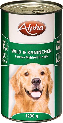 ALPHA Hundenahrung Dose Wild und Kaninchen 1.230 g