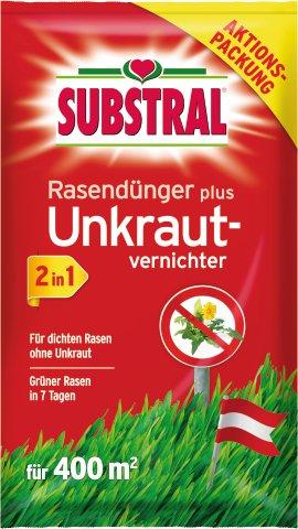 SUBSTRAL Unkrautvernichter und Rasendünger 2in1, 400 m²