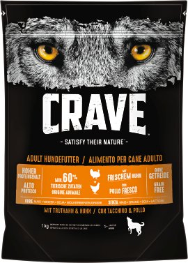 CRAVE Hundefutter trocken Truthahn und Huhn 1 kg