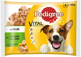 PEDIGREE Hundenahrung Beutel Huhn und Lamm in Gelee 4x100 g