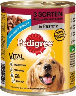 PEDIGREE Hundenahrung Schale 3 Sorten Rind, Lamm und Huhn 12x800 g